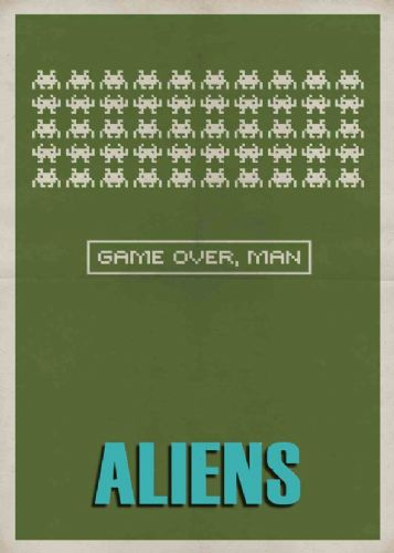 1980's Movie - ALIENS - MINIMALIST SPACE INVADERS canvas print - self adhesive poster - photo print